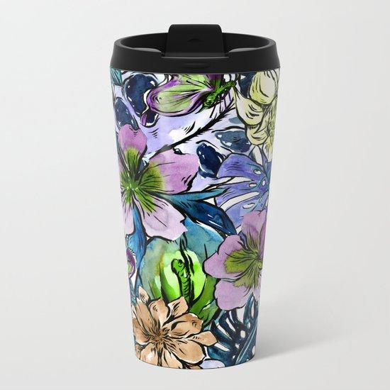 Tropical Blue Flower Hibiscus Garden Metal Travel Mug