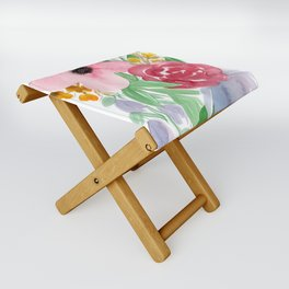 Floral Watercolor Bouquet no. 2 Folding Stool