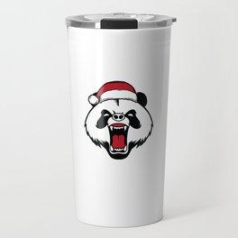 Bah Humbug Angry Panda With Santa Hat Grumpy Grouch Humor Pun Cool Gift Design Travel Mug