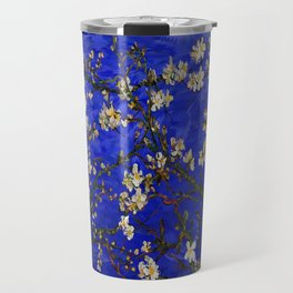 Abstract Daisy with Blue Background Travel Mug
