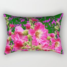 Decorative Fuchsia & Green Hollyhocks Garden Pattern Art Rectangular Pillow