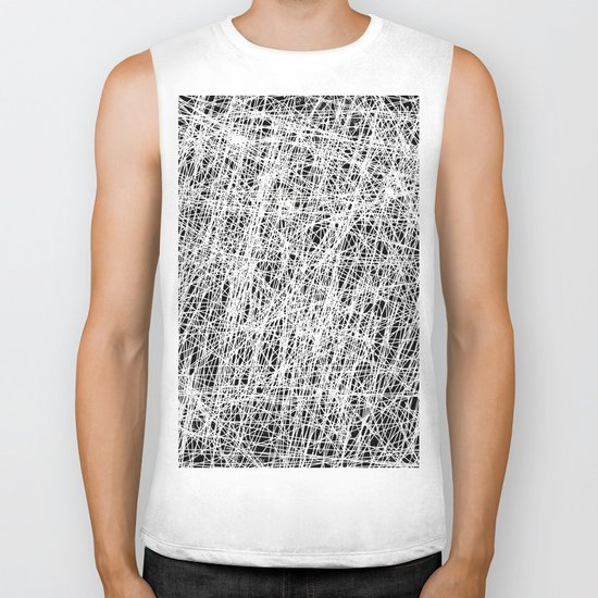 Web Of Confusion - Black and white, abstract painting Biker Tank