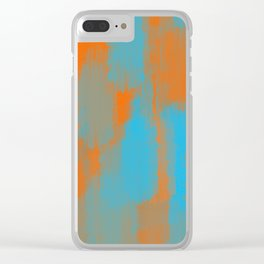 blue and orange painting texture abstract background Clear iPhone Case