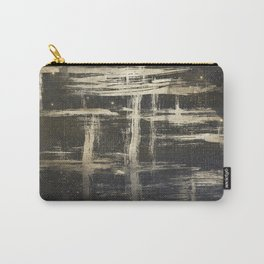 Gold Brushstrokes on Black Carry-All Pouch