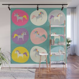 Cute Unicorn polka dots teal pastel colors and linen texture #homedecor #apparel #stationary #kids Wall Mural