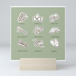 Italian pasta types - pistachio sag e green art  Mini Art Print
