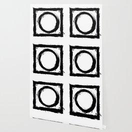 Black and white shapes splatter Wallpaper