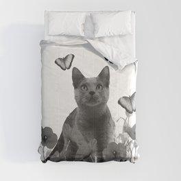 Cat Kitten in Poppies Field Butterflies - black & white Comforters