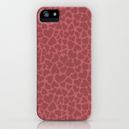 Lots of red hearts on pink background iPhone Case