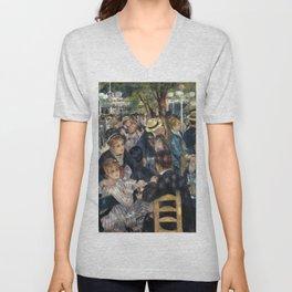 Auguste Renoir -Bal du moulin de la galette, Dance at Le moulin de la Galette Unisex V-Neck