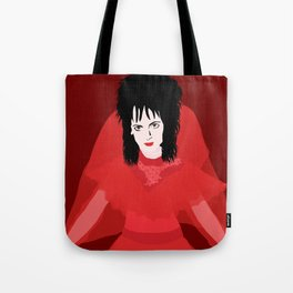 Lydia in Red on Maroon Tote Bag
