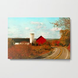 Red and White Barns and Fall Colors Metal Print