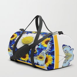 EVERYTHING'S COMING UP DAISIES & BUTTERFLIES  BLUE  ART Duffle Bag