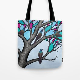 grackles in the stained glass tree Tote Bag