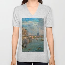 "John Constable ""Somerset House Terrace from Waterloo Bridge"" Unisex V-Neck"
