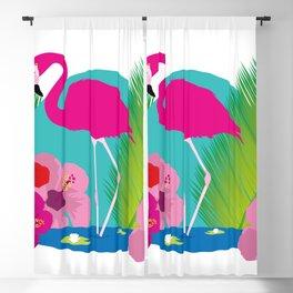 Pink flamingo tropic exotic Blackout Curtain