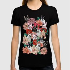 French Bullbloom Black MEDIUM Womens Fitted Tee