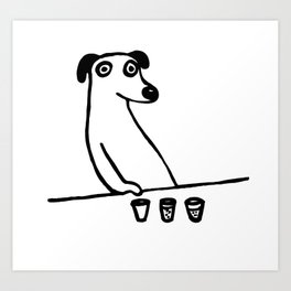 Drunk Dog T Shirt Graphic Art Print