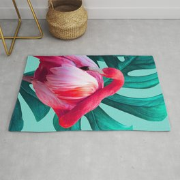 Pop Pink Flamingo on Teal Monstera  Rug