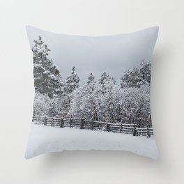 Winter Forest Fence Throw Pillow