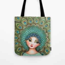 Peacock girl Tote Bag