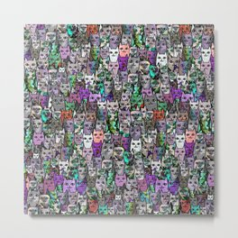 Gemstone Cats UltraViolet Green Palatte Metal Print
