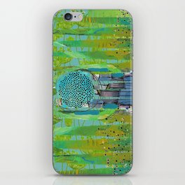 Green Turquoise Jagged Abstract Art Collage iPhone Skin