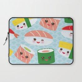 pattern Kawaii funny sushi rolls set with pink cheeks and big eyes, emoji Laptop Sleeve