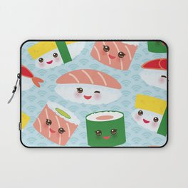 pattern Kawaii funny sushi rolls set with pink cheeks and big eyes, emoji Laptop Sleeve