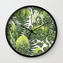 Watercolor prehistoric plants Wall Clock