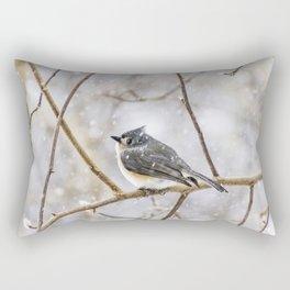 Snowy Titmouse Rectangular Pillow