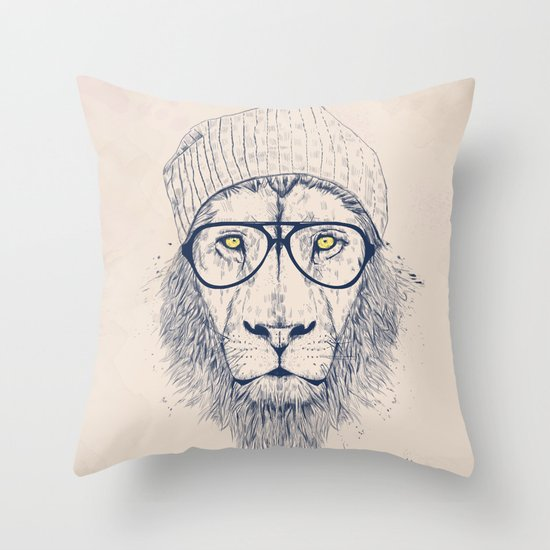 Cool lion Throw Pillow