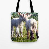 silence of the lambs Tote Bags featuring Spring Lambs by Valann