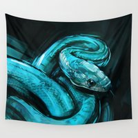 snake Wall Tapestries featuring Snake by Viktor Miller Gausa