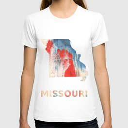 Missouri map outline Red Blue nebulous watercolor T-shirt