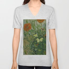 """Vincent Van Gogh """"Butterflies and Poppies"""" Unisex V-Neck"""