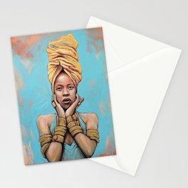 Erykah Badu Music Icon Portrait Painting RnB Tribute Art Stationery Cards