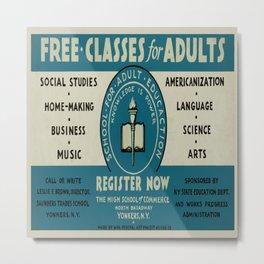 Vintage poster - Adult Education Metal Print