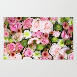 Bed of Roses Pink White Rug