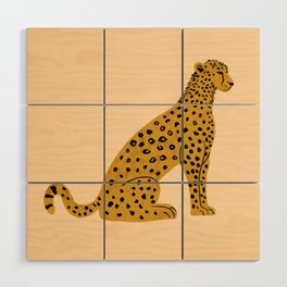 Sitting Leopard, Leopard Print, Leopard Art, Leopard Drawing, Leopard Illustration Wood Wall Art