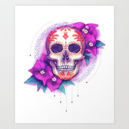 Mexican Skull with Bugambilias Art Print