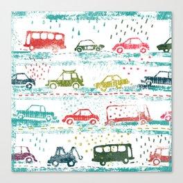 cars in the rain Canvas Print