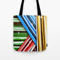 planes Tote Bags featuring Striped Planes by Claudia McBain