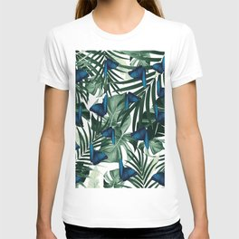 Tropical Butterfly Jungle Leaves Pattern #1 #tropical #decor #art #society6 T-shirt