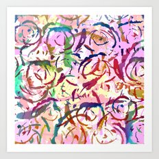 abstract roses silhouettes Art Print