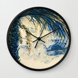 Tropical Palm Tree Blue by CheyAnne Sexton Wall Clock