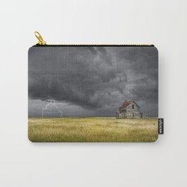 Thunderstorm on the Prairie with abandoned farmhouse Carry-All Pouch