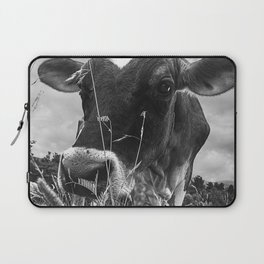 Cow In The Grass BW Laptop Sleeve