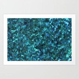 Abalone Shell   Paua Shell   Cyan Blue Tint Art Print