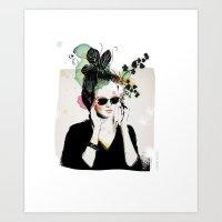 sunglasses Art Prints featuring Sunglasses by Lorene R illustration